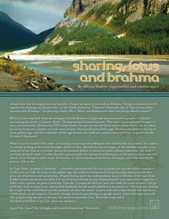 Sharing, Lotus & Brahma
